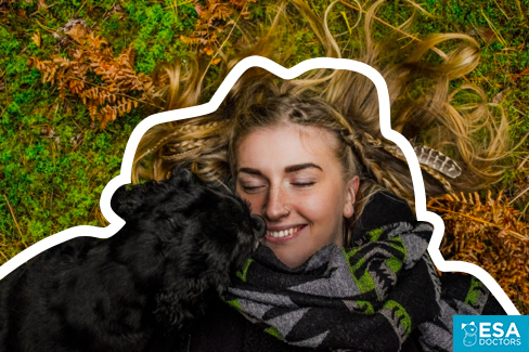 Emotional Support Dog with Girl on grass
