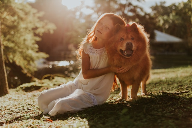 Emotional support dog with girl