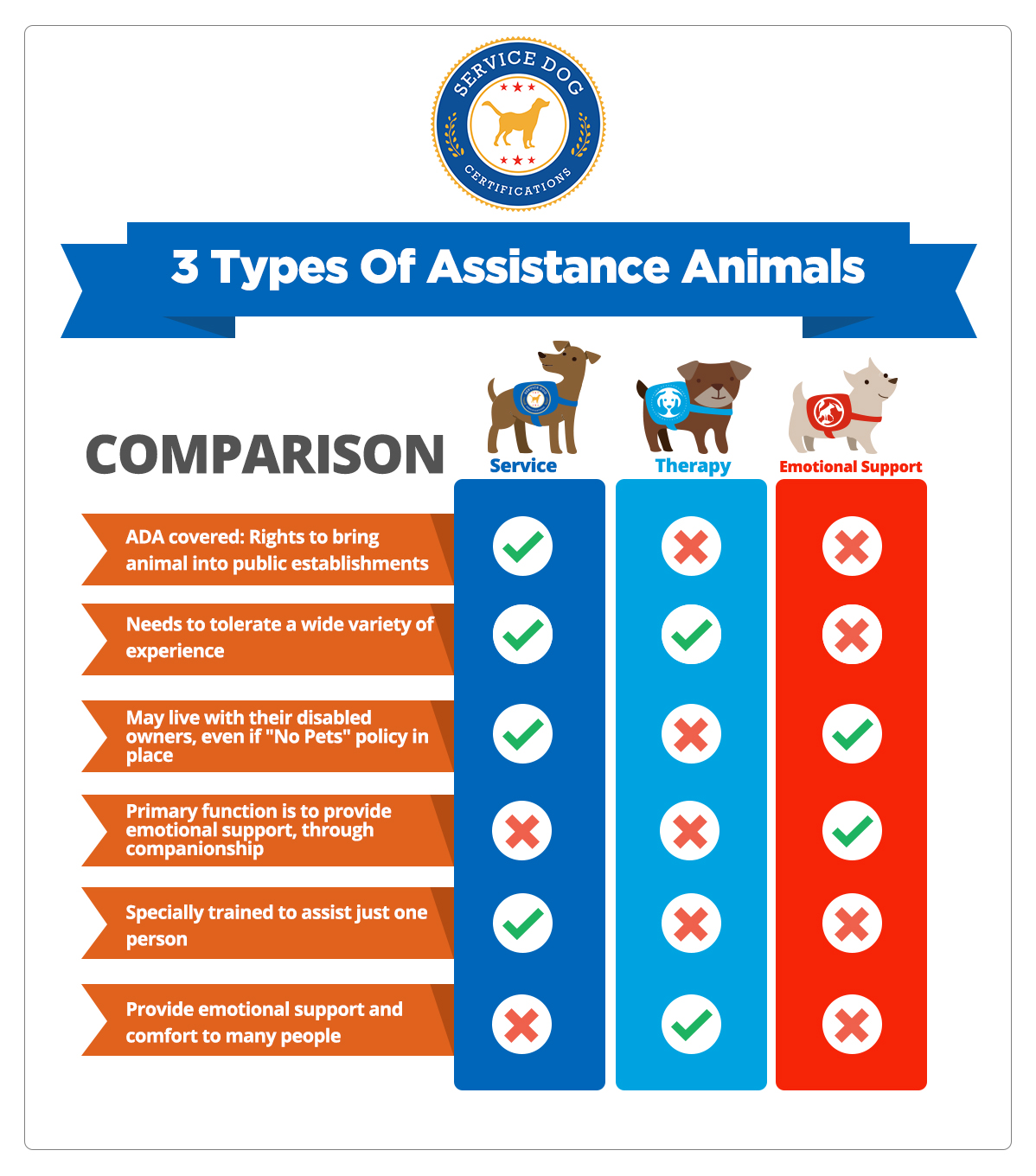 Difference between service dog, emotional support dogs, and therapy dogs (infographic) - Service Dog Certifications
